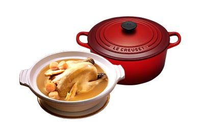 干貝熬雞湯+Le Creuset琺瑯鑄鐵鍋20cm(櫻桃紅)