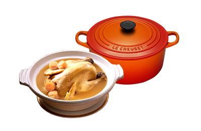 干貝熬雞湯+Le Creuset琺瑯鑄鐵鍋22cm(火焰橘)