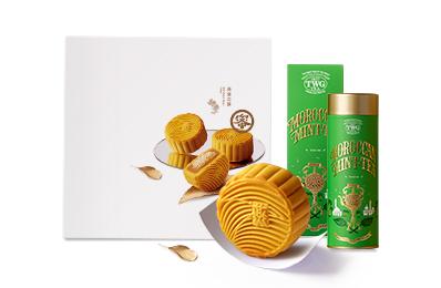 燕窩月餅禮盒(4入)+TWG TEA 摩洛哥薄荷綠茶緞帶禮盒 / 單罐【附提袋】