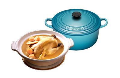 干貝熬雞湯+Le Creuset琺瑯鑄鐵鍋20cm(加勒比海藍)